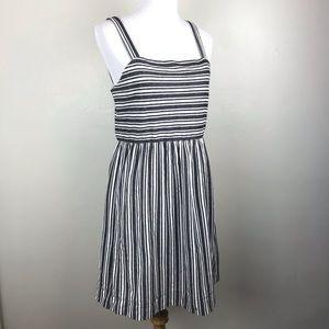Loft Black White Striped Tank Dress M